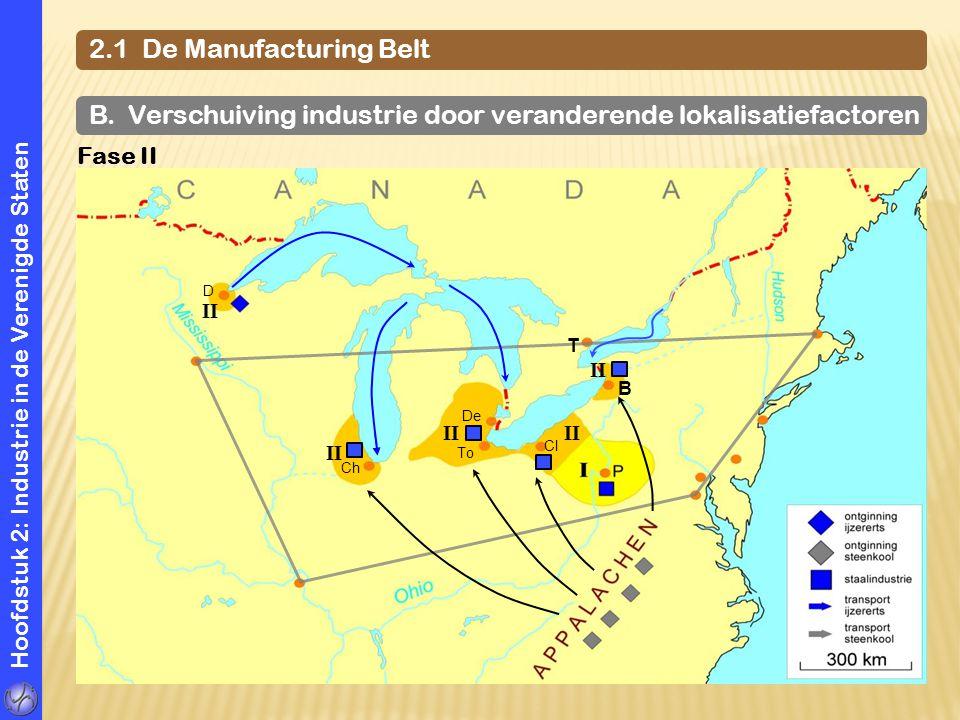 Hoofdstuk 2: Industrie in de Verenigde Staten 2.1 De Manufacturing Belt B. Verschuiving industrie door veranderende lokalisatiefactoren Fase II D Ch D