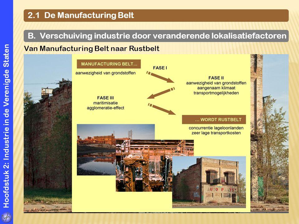 Hoofdstuk 2: Industrie in de Verenigde Staten 2.1 De Manufacturing Belt B. Verschuiving industrie door veranderende lokalisatiefactoren Van Manufactur