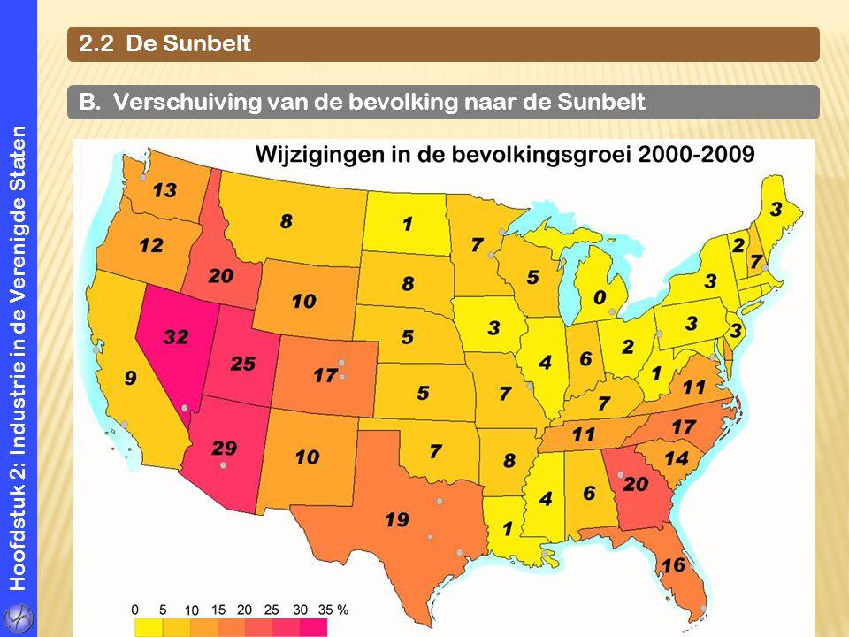 Hoofdstuk 2: Industrie in de Verenigde Staten 2.2 De Sunbelt B. Verschuiving van de bevolking naar de Sunbelt