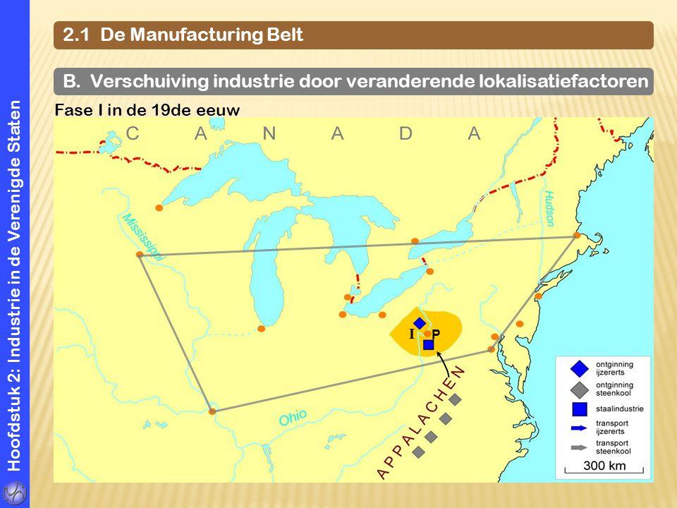 Hoofdstuk 2: Industrie in de Verenigde Staten 2.1 De Manufacturing Belt B. Verschuiving industrie door veranderende lokalisatiefactoren Fase I in de 1