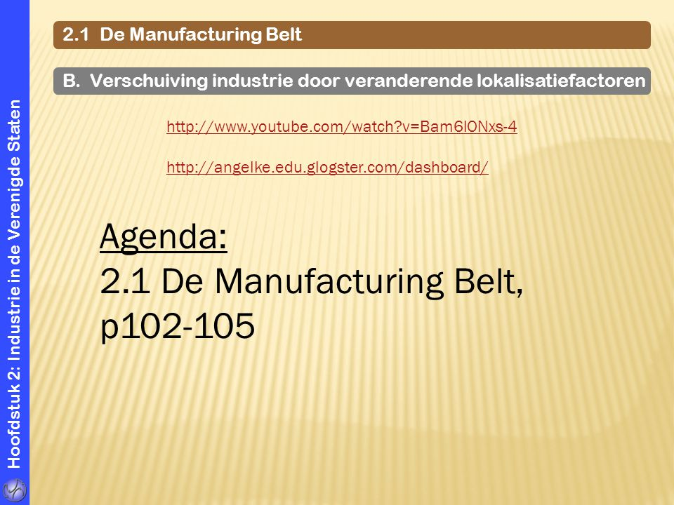 Hoofdstuk 2: Industrie in de Verenigde Staten 2.1 De Manufacturing Belt http://www.youtube.com/watch?v=Bam6lONxs-4 http://angelke.edu.glogster.com/dashboard/ B.