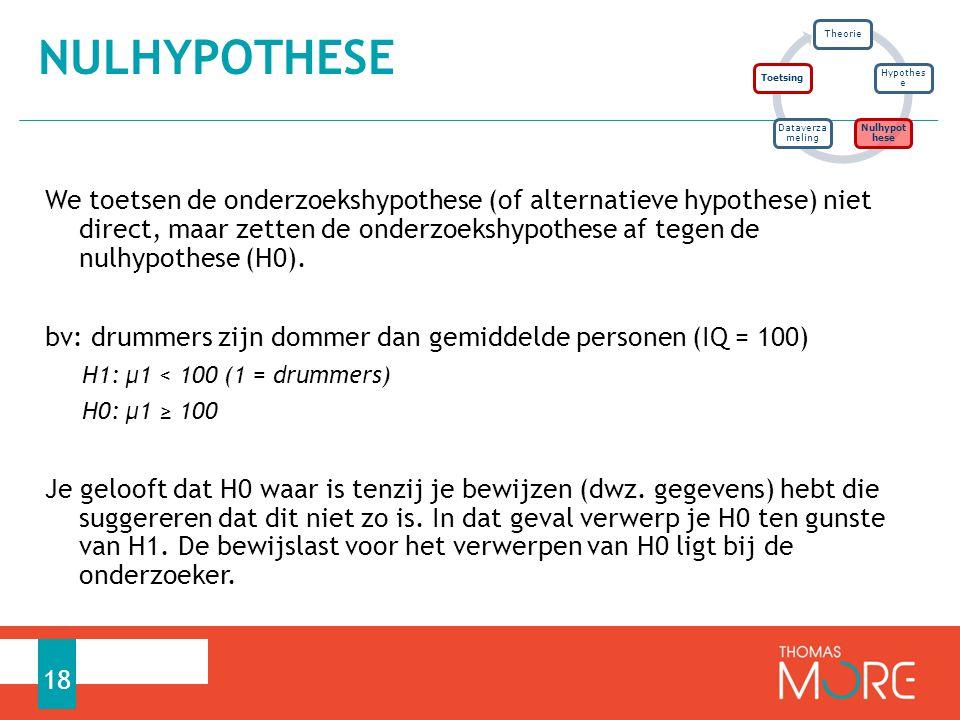 We toetsen de onderzoekshypothese (of alternatieve hypothese) niet direct, maar zetten de onderzoekshypothese af tegen de nulhypothese (H0). bv: drumm