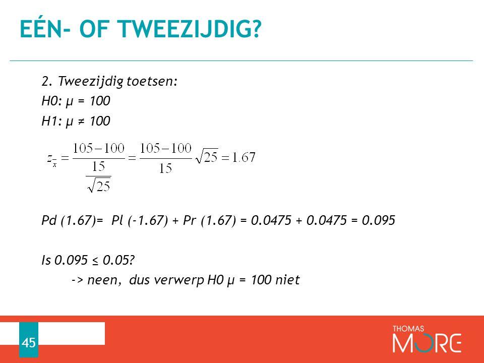 2. Tweezijdig toetsen: H0: µ = 100 H1: µ ≠ 100 Pd (1.67)= Pl (-1.67) + Pr (1.67) = 0.0475 + 0.0475 = 0.095 Is 0.095 ≤ 0.05? -> neen, dus verwerp H0 µ