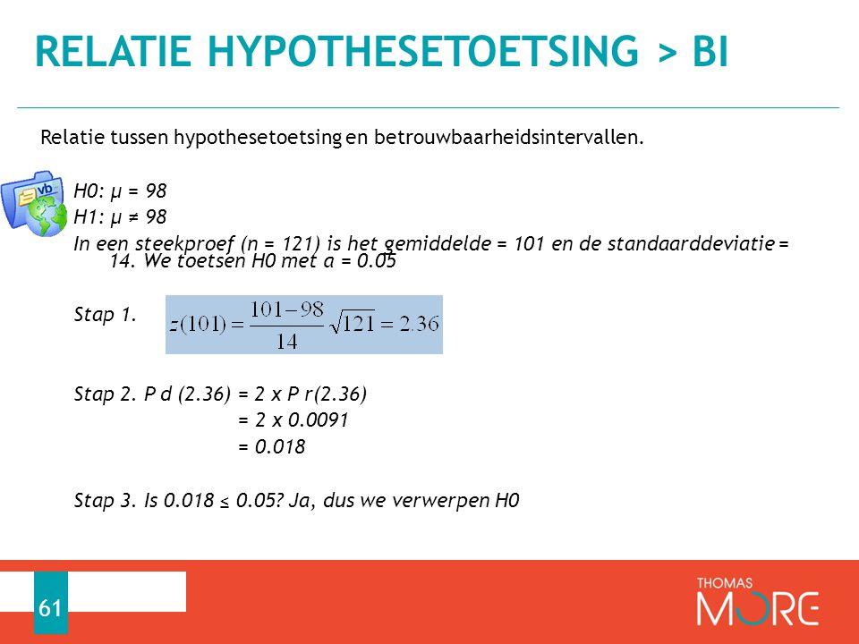 Relatie tussen hypothesetoetsing en betrouwbaarheidsintervallen. H0: µ = 98 H1: µ ≠ 98 In een steekproef (n = 121) is het gemiddelde = 101 en de stand