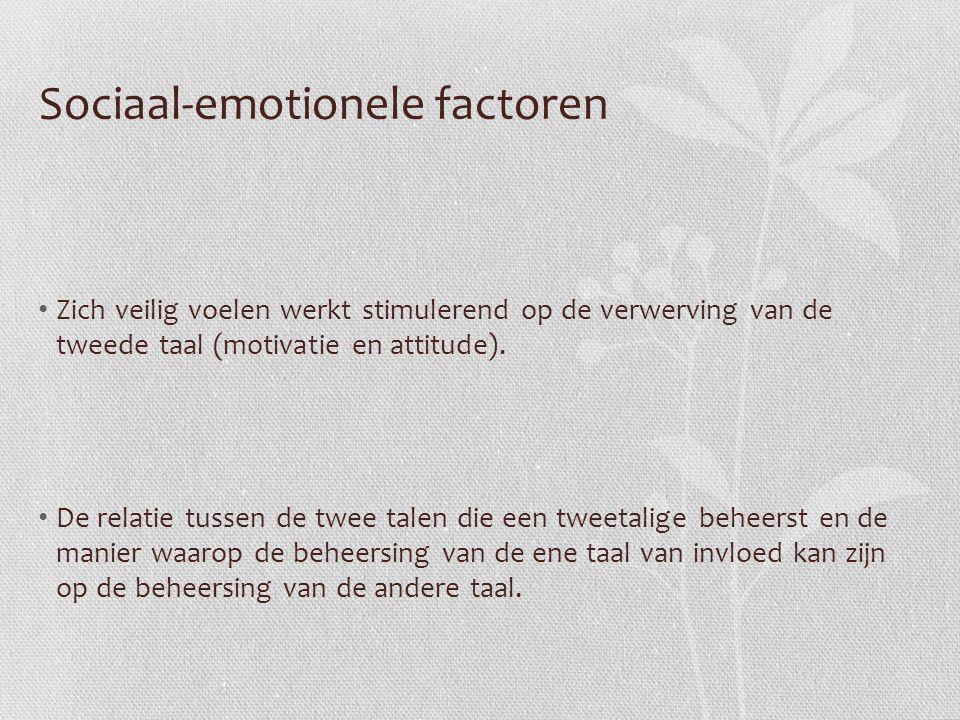 Sociaal-emotionele factoren Zich veilig voelen werkt stimulerend op de verwerving van de tweede taal (motivatie en attitude). De relatie tussen de twe