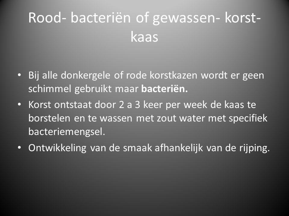 Rood- bacteriën of gewassen- korst- kaas Bij alle donkergele of rode korstkazen wordt er geen schimmel gebruikt maar bacteriën. Korst ontstaat door 2