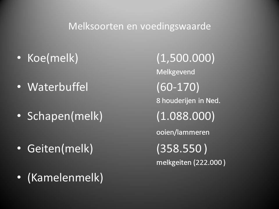 Voedingswaarde Melkschaap 84,0% 17,0% 6,1% 5,3% 4,6% 1,0% Koe 86,6% 13,4% 4,4% 3,4% 4,6% 1,0% Geit 87,1% 12,9% 4,0% 3,3% 4,6% 1,0% Waterbuffel 81,1% water 8,0% vet 4,5% eiwit 4,9% lactose Water Droge stof Vet In procenten Eiwit % Lactose Zouten en diverse