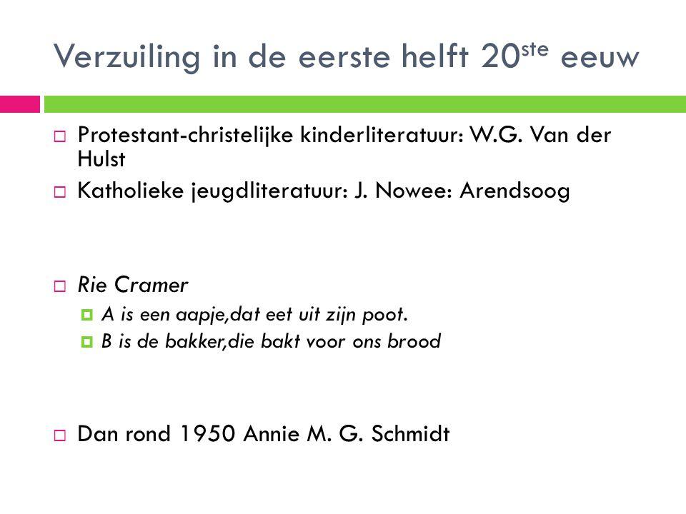 Verzuiling in de eerste helft 20 ste eeuw  Protestant-christelijke kinderliteratuur: W.G. Van der Hulst  Katholieke jeugdliteratuur: J. Nowee: Arend
