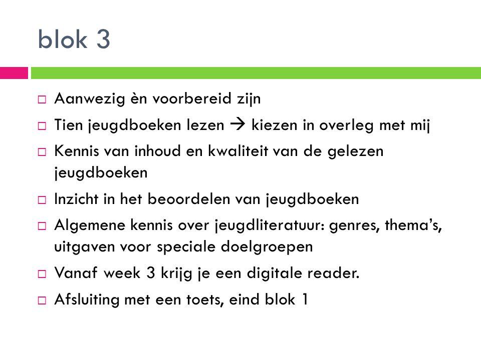 Blok 2  Casus uitwerken  nieuwe bibliotheek voorzien van twintig boeken Inhoud:  Digitale bibliotheek  Lezersonderzoek  Secundair werk  Links met kennisnet  Verfilmingen  links/Dvd's  Uitdagende werkopdrachten  Thematisch ingericht