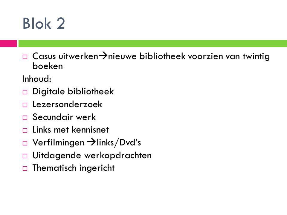 Blok 2  Casus uitwerken  nieuwe bibliotheek voorzien van twintig boeken Inhoud:  Digitale bibliotheek  Lezersonderzoek  Secundair werk  Links me