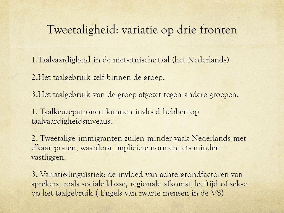 Tweetaligheid: variatie op drie fronten 1.Taalvaardigheid in de niet-etnische taal (het Nederlands). 2.Het taalgebruik zelf binnen de groep. 3.Het taa