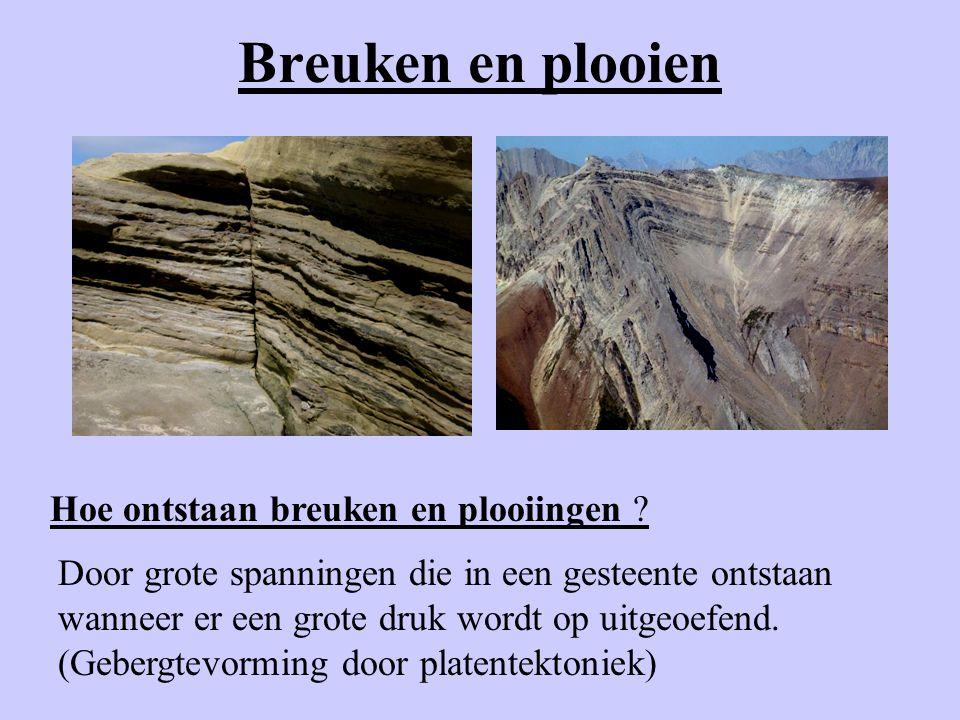 Breuken en plooien Hoe ontstaan breuken en plooiingen ? Door grote spanningen die in een gesteente ontstaan wanneer er een grote druk wordt op uitgeoe
