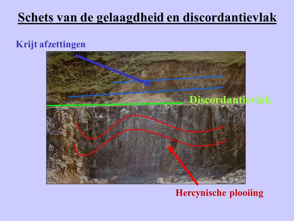 Schets van de gelaagdheid en discordantievlak Hercynische plooiing Discordantievlak Krijt afzettingen