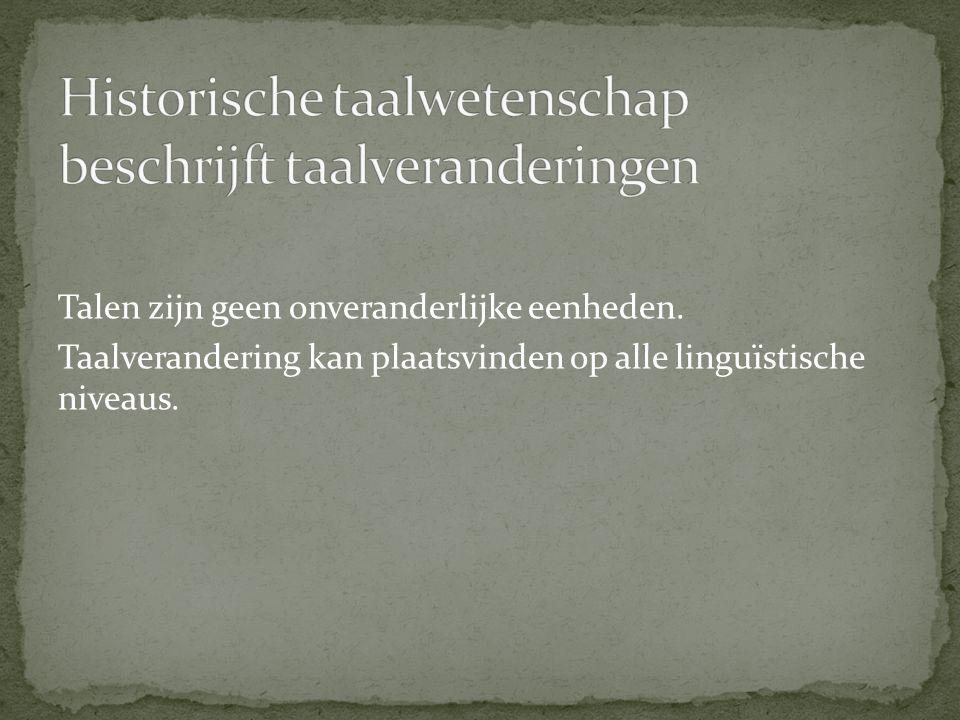 Talen zijn geen onveranderlijke eenheden. Taalverandering kan plaatsvinden op alle linguïstische niveaus.