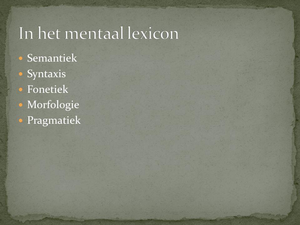 Semantiek Syntaxis Fonetiek Morfologie Pragmatiek
