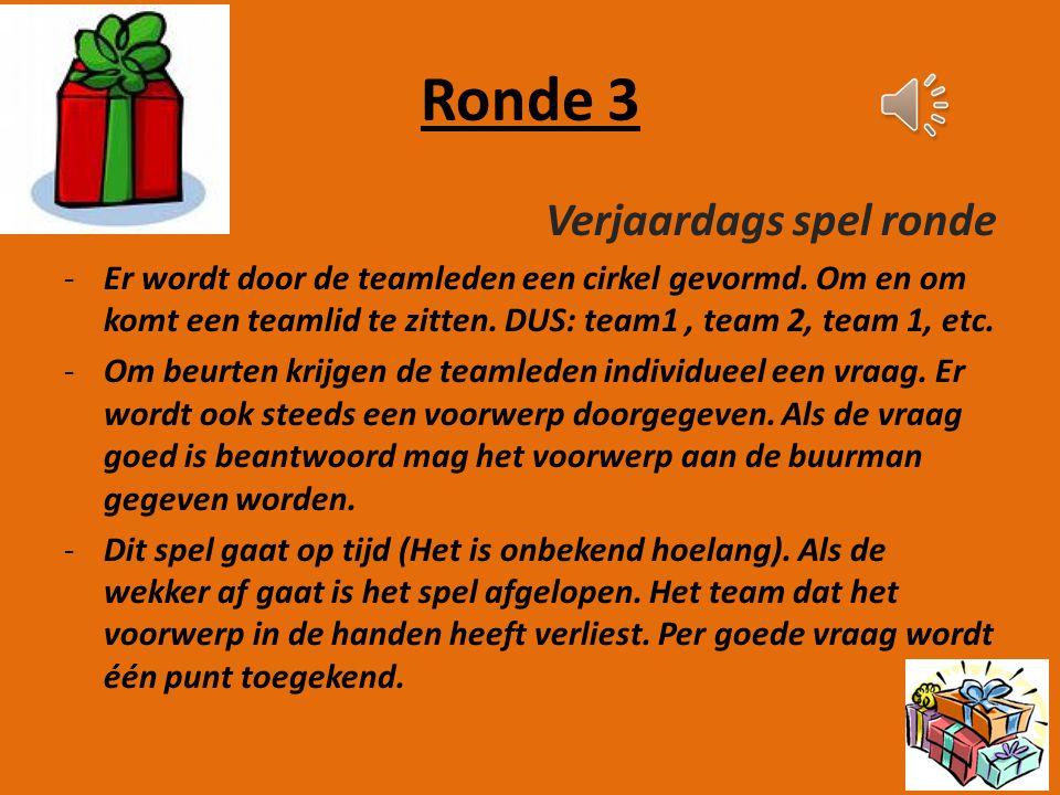 Ronde 2 Roddelronde -De teamleider leest een roddel voor aan een mede teamgenoot. De overige teamleden bevinden zich buiten het klaslokaal. -Als de te
