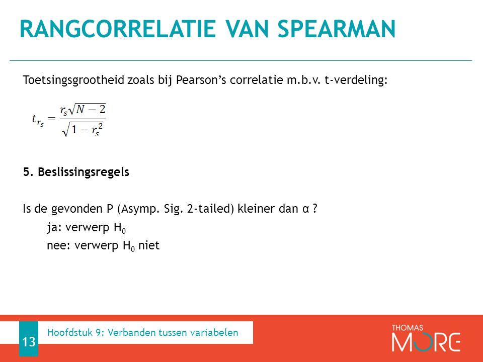 Toetsingsgrootheid zoals bij Pearson's correlatie m.b.v. t-verdeling: 5. Beslissingsregels Is de gevonden P (Asymp. Sig. 2-tailed) kleiner dan α ? ja: