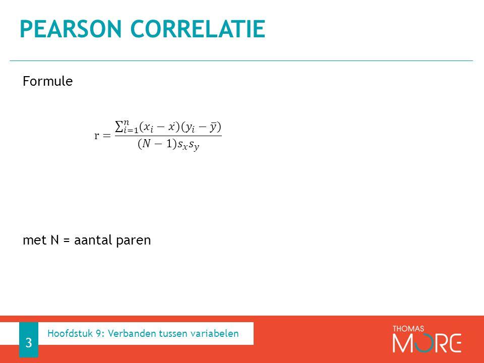 Formule met N = aantal paren PEARSON CORRELATIE 3 Hoofdstuk 9: Verbanden tussen variabelen