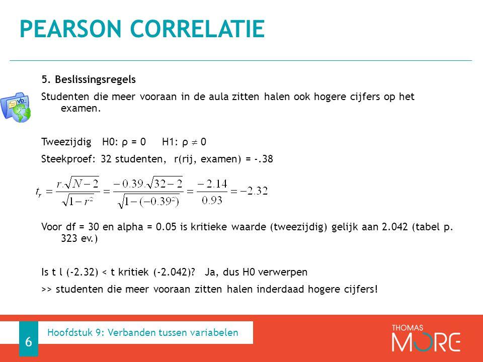 Determinatiecoëficiënt R² R² = r² wat is het aandeel van variabele X in de variantie van variabele Y.