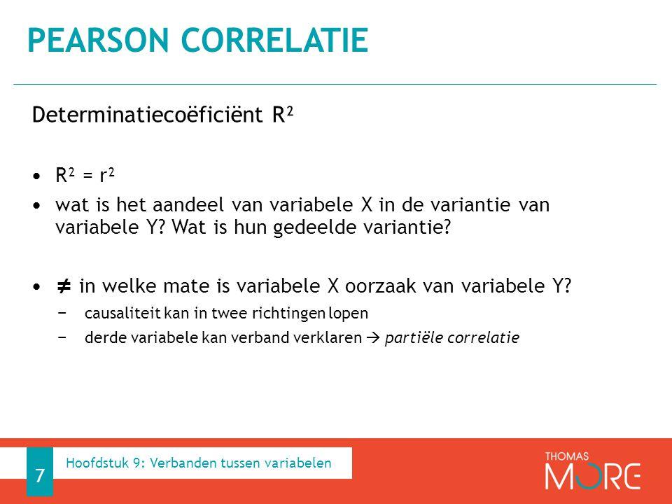 Determinatiecoëficiënt R² R² = r² wat is het aandeel van variabele X in de variantie van variabele Y? Wat is hun gedeelde variantie? ≠ in welke mate i