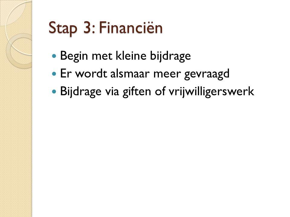 Stap 3: Financiën Begin met kleine bijdrage Er wordt alsmaar meer gevraagd Bijdrage via giften of vrijwilligerswerk
