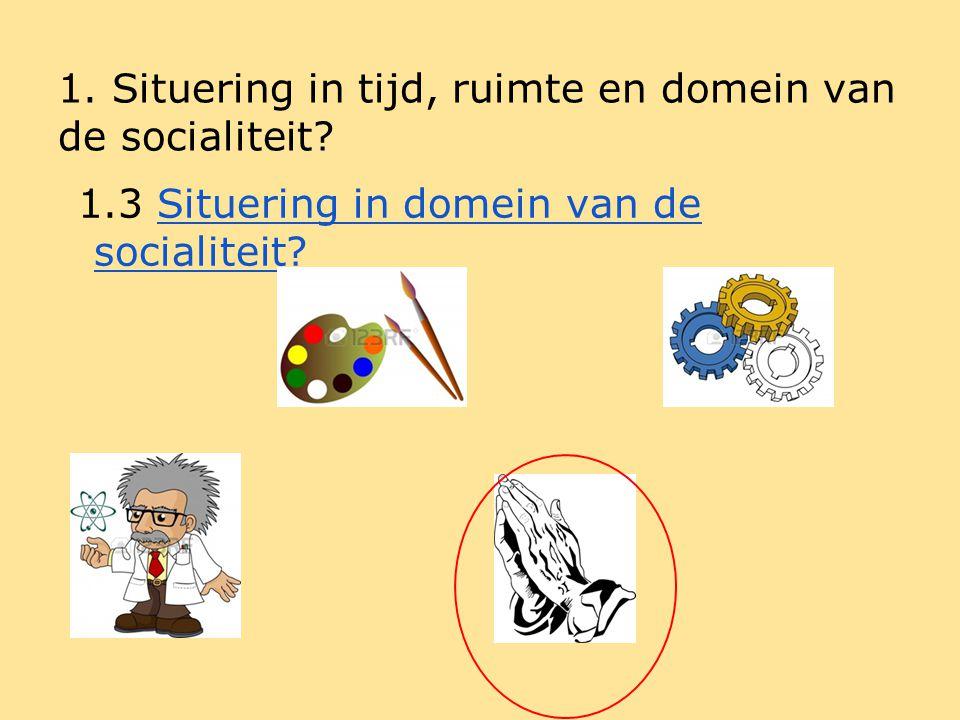 Syntheseschema 1.Situering in tijd, ruimte en domein van de socialiteit.