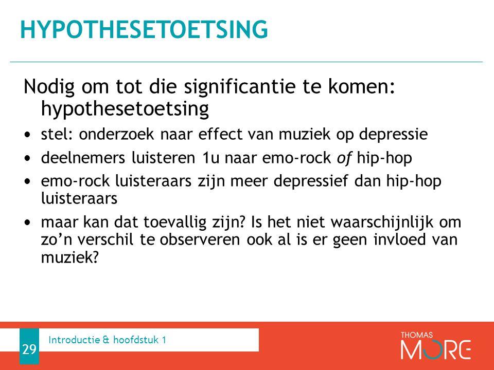 Nodig om tot die significantie te komen: hypothesetoetsing stel: onderzoek naar effect van muziek op depressie deelnemers luisteren 1u naar emo-rock o