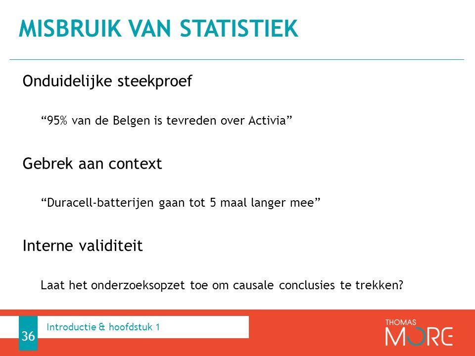 """Onduidelijke steekproef """"95% van de Belgen is tevreden over Activia"""" Gebrek aan context """"Duracell-batterijen gaan tot 5 maal langer mee"""" Interne valid"""