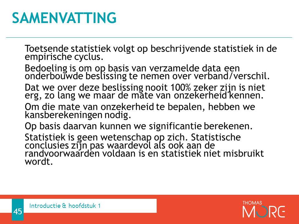 Toetsende statistiek volgt op beschrijvende statistiek in de empirische cyclus. Bedoeling is om op basis van verzamelde data een onderbouwde beslissin