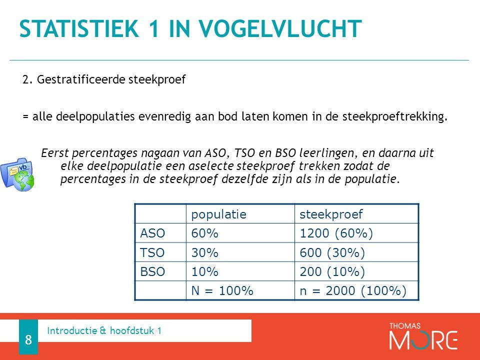 2. Gestratificeerde steekproef = alle deelpopulaties evenredig aan bod laten komen in de steekproeftrekking. Eerst percentages nagaan van ASO, TSO en