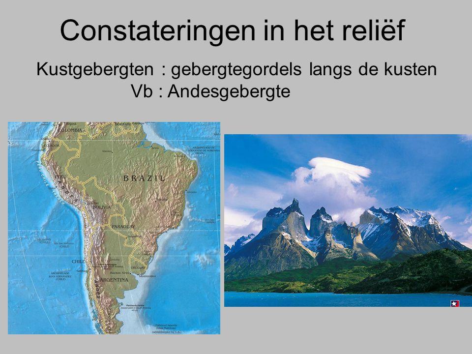 Constateringen in het reliëf Kustgebergten : gebergtegordels langs de kusten Vb : Andesgebergte