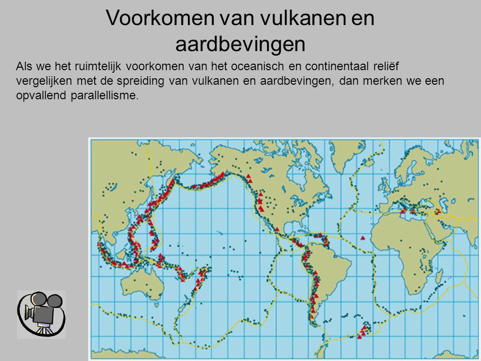 Voorkomen van vulkanen en aardbevingen Als we het ruimtelijk voorkomen van het oceanisch en continentaal reliëf vergelijken met de spreiding van vulka