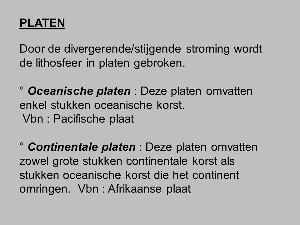 Door de divergerende/stijgende stroming wordt de lithosfeer in platen gebroken. ° Oceanische platen : Deze platen omvatten enkel stukken oceanische ko