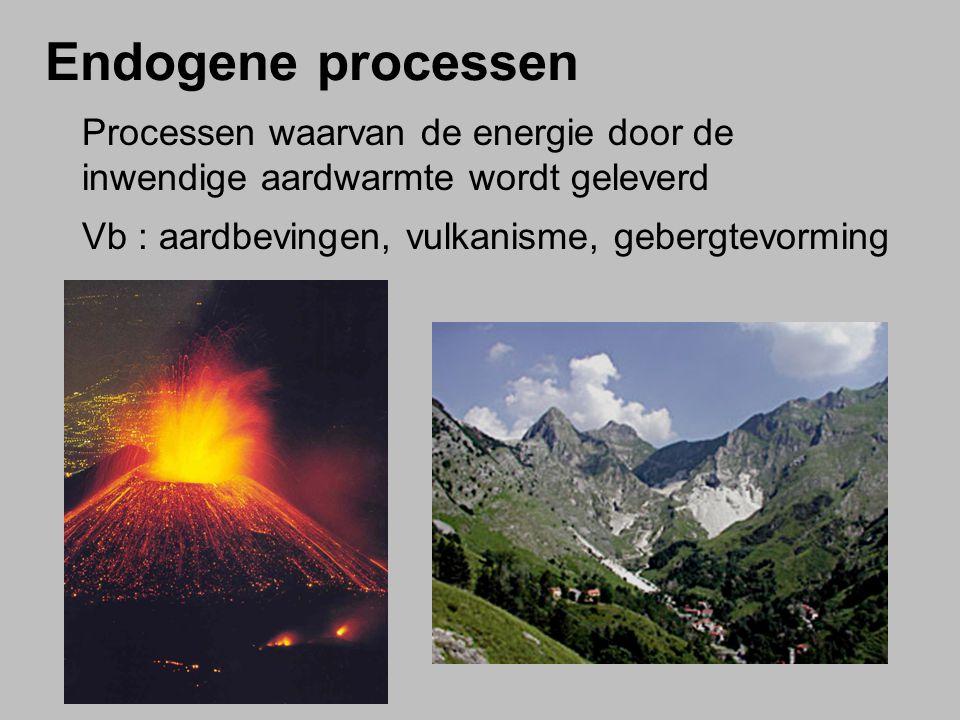 Endogene processen Processen waarvan de energie door de inwendige aardwarmte wordt geleverd Vb : aardbevingen, vulkanisme, gebergtevorming