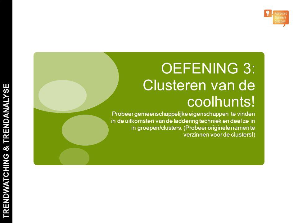 OEFENING 3: Clusteren van de coolhunts! Probeer gemeenschappelijke eigenschappen te vinden in de uitkomsten van de laddering techniek en deel ze in in