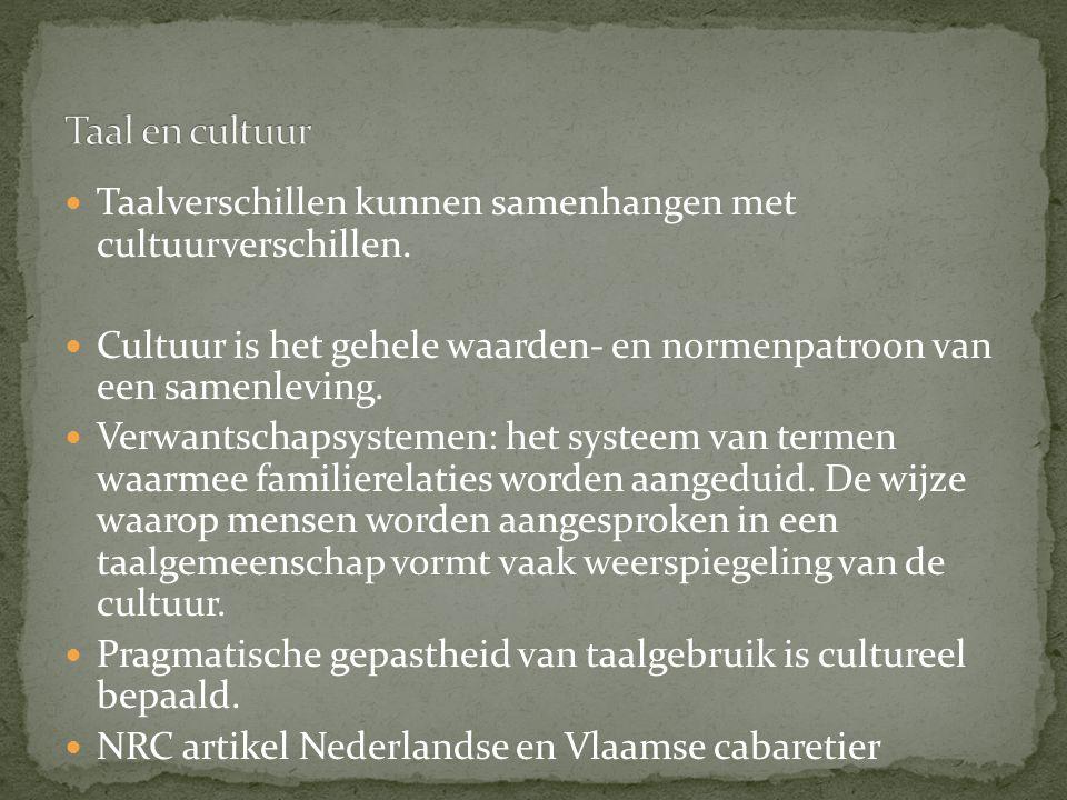 Taalverschillen kunnen samenhangen met cultuurverschillen. Cultuur is het gehele waarden- en normenpatroon van een samenleving. Verwantschapsystemen: