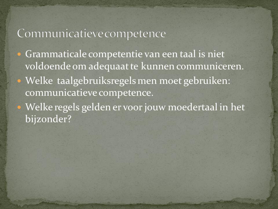 Grammaticale competentie van een taal is niet voldoende om adequaat te kunnen communiceren. Welke taalgebruiksregels men moet gebruiken: communicatiev