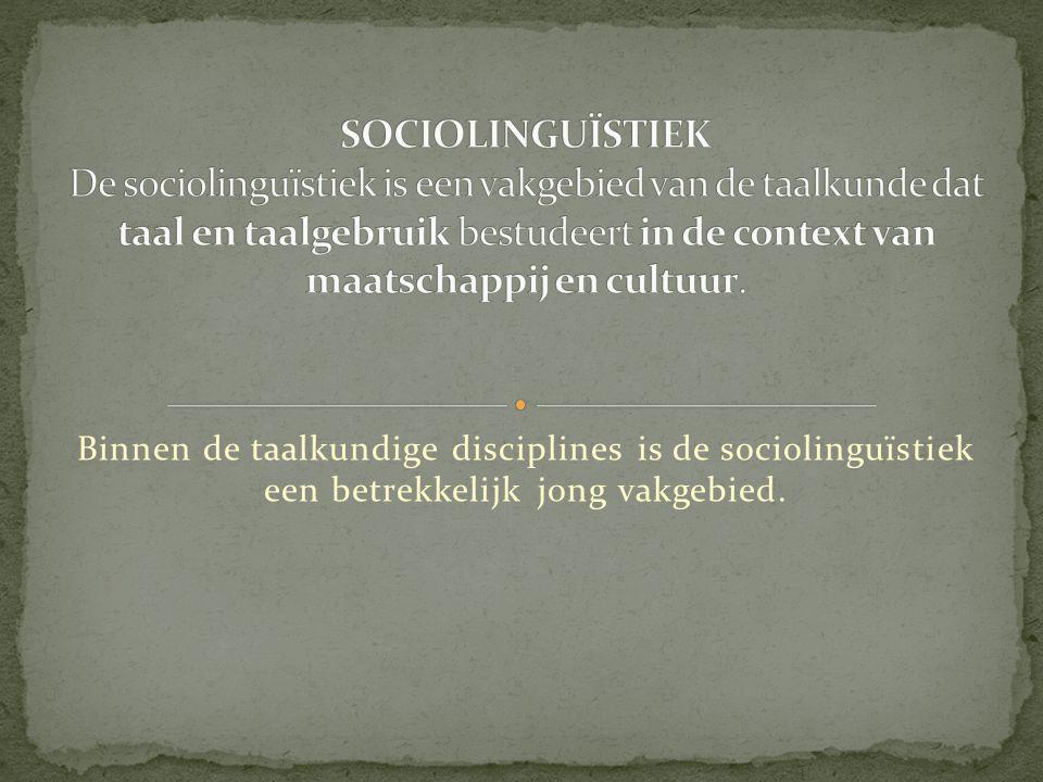 Tot de sociolinguïstiek worden over het algemeen zo uiteenlopende vakgebieden gerekend als antropologische taalkunde, dialectologie, discoursanalyse, taalcontactonderzoek, meertaligheid, taalplanning, taalbehoud en creolistiek.