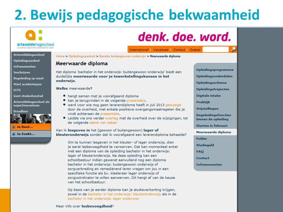 2. Bewijs pedagogische bekwaamheid