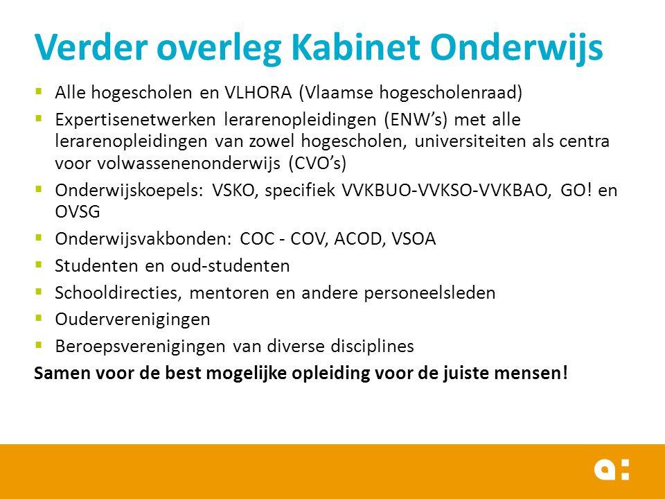  Alle hogescholen en VLHORA (Vlaamse hogescholenraad)  Expertisenetwerken lerarenopleidingen (ENW's) met alle lerarenopleidingen van zowel hogeschol