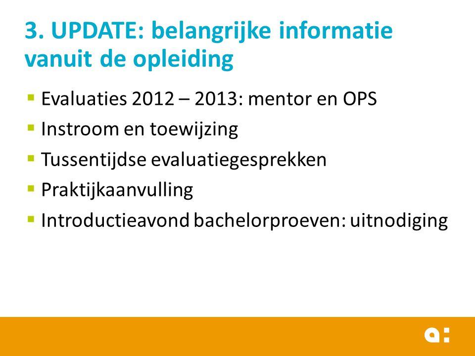 Evaluaties 2012 – 2013: mentor en OPS  Instroom en toewijzing  Tussentijdse evaluatiegesprekken  Praktijkaanvulling  Introductieavond bachelorpr
