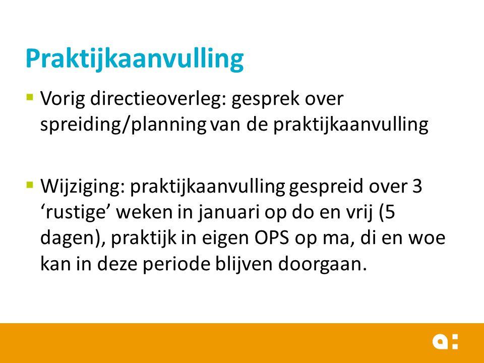  Vorig directieoverleg: gesprek over spreiding/planning van de praktijkaanvulling  Wijziging: praktijkaanvulling gespreid over 3 'rustige' weken in