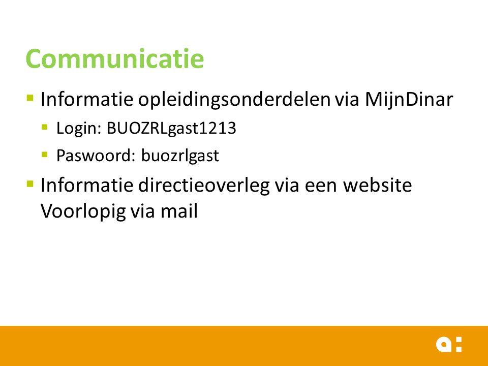  Informatie opleidingsonderdelen via MijnDinar  Login: BUOZRLgast1213  Paswoord: buozrlgast  Informatie directieoverleg via een website Voorlopig