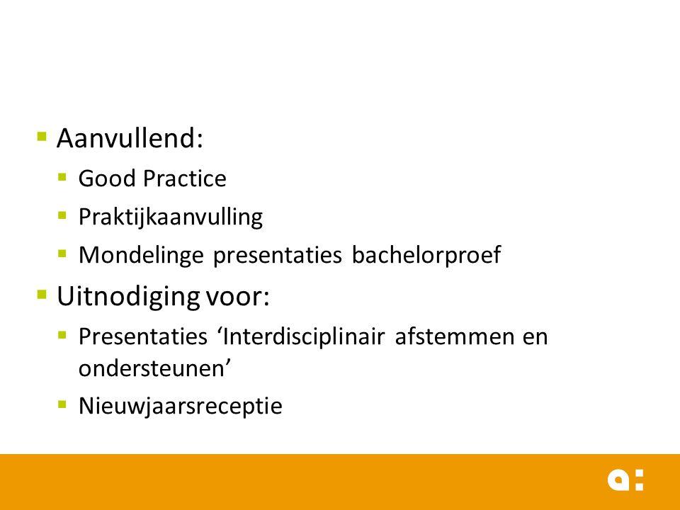 Aanvullend:  Good Practice  Praktijkaanvulling  Mondelinge presentaties bachelorproef  Uitnodiging voor:  Presentaties 'Interdisciplinair afste