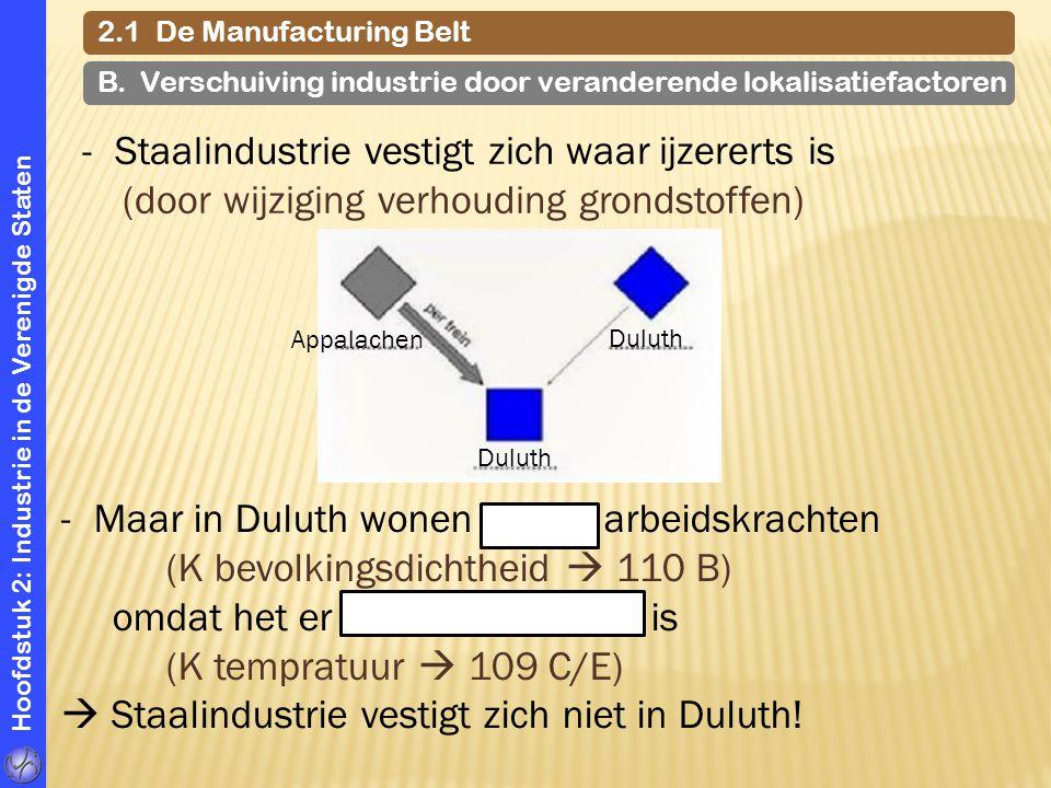 Hoofdstuk 2: Industrie in de Verenigde Staten 2.1 De Manufacturing Belt Appalachen Duluth -Maar in Duluth wonen weinig arbeidskrachten (K bevolkingsdi