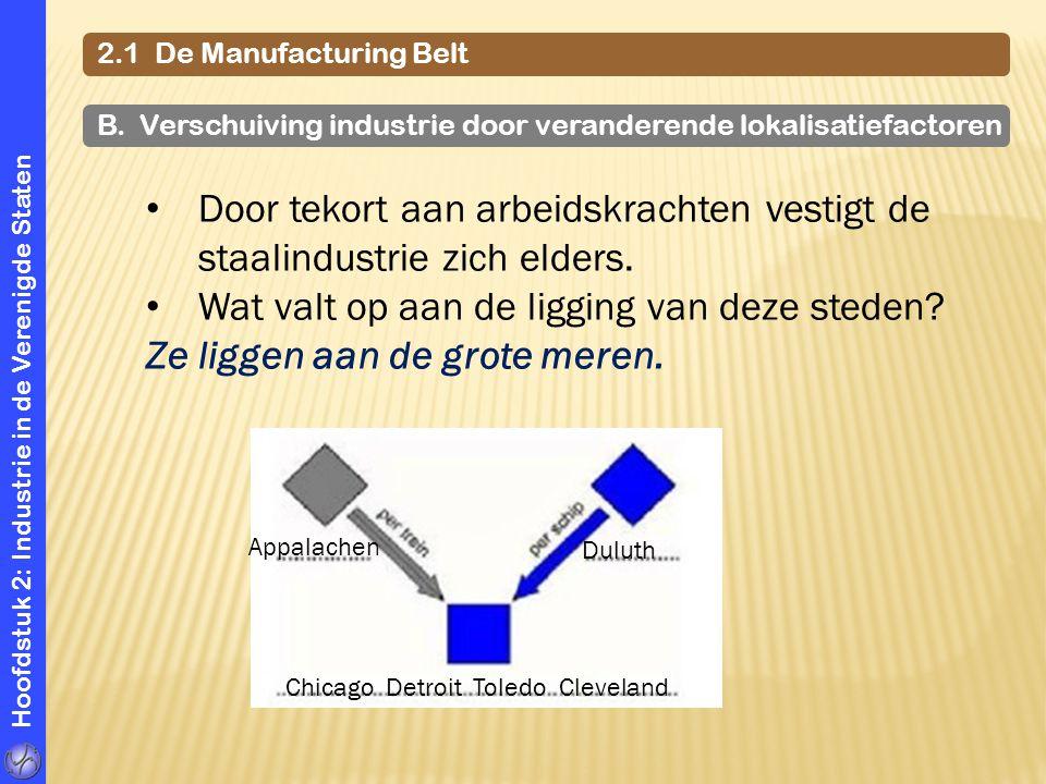 Hoofdstuk 2: Industrie in de Verenigde Staten 2.1 De Manufacturing Belt Appalachen Duluth Chicago Detroit Toledo Cleveland Door tekort aan arbeidskrac