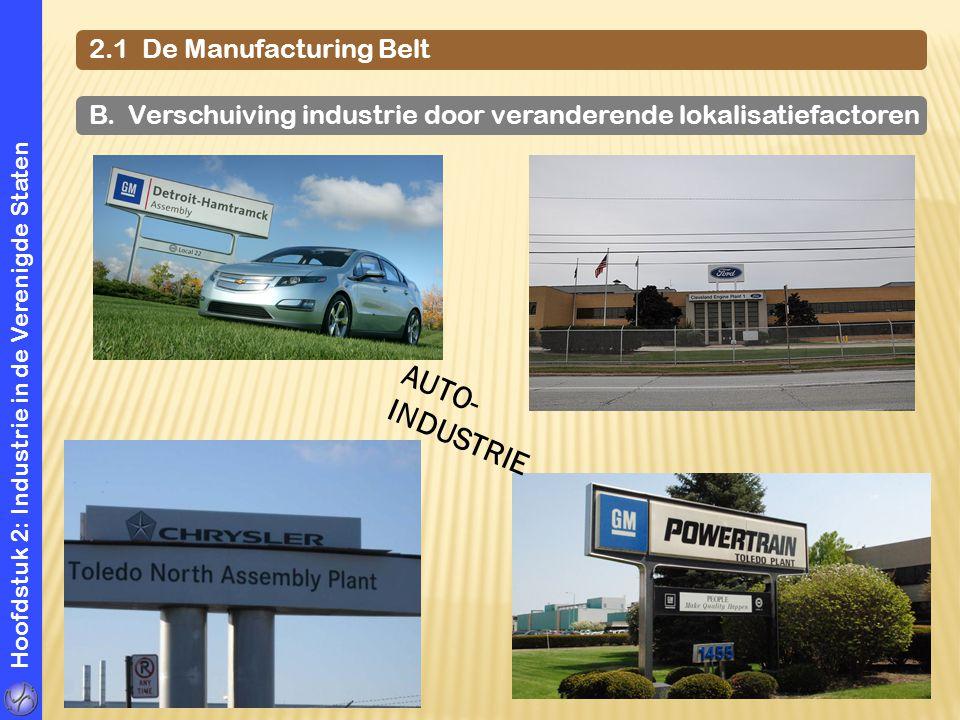 Hoofdstuk 2: Industrie in de Verenigde Staten 2.1 De Manufacturing Belt B. Verschuiving industrie door veranderende lokalisatiefactoren AUTO- INDUSTRI