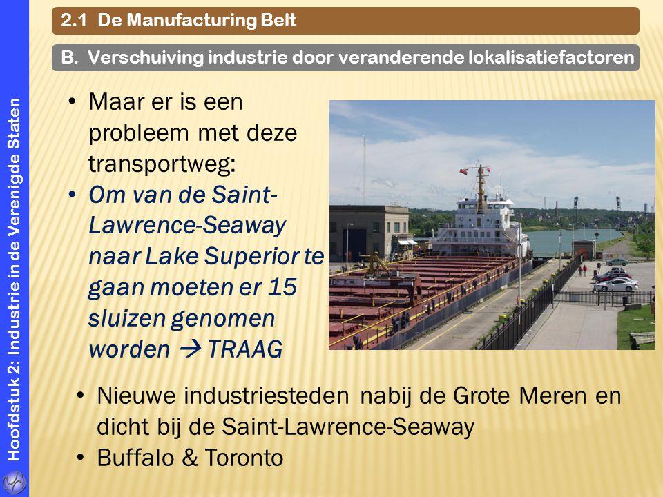 Hoofdstuk 2: Industrie in de Verenigde Staten 2.1 De Manufacturing Belt B. Verschuiving industrie door veranderende lokalisatiefactoren Maar er is een