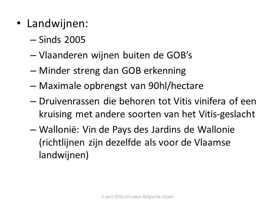 Landwijnen: – Sinds 2005 – Vlaanderen wijnen buiten de GOB's – Minder streng dan GOB erkenning – Maximale opbrengst van 90hl/hectare – Druivenrassen die behoren tot Vitis vinifera of een kruising met andere soorten van het Vitis-geslacht – Wallonië: Vin de Pays des Jardins de Wallonie (richtlijnen zijn dezelfde als voor de Vlaamse landwijnen) 2 april 2013 vin coeur Belgische wijnen