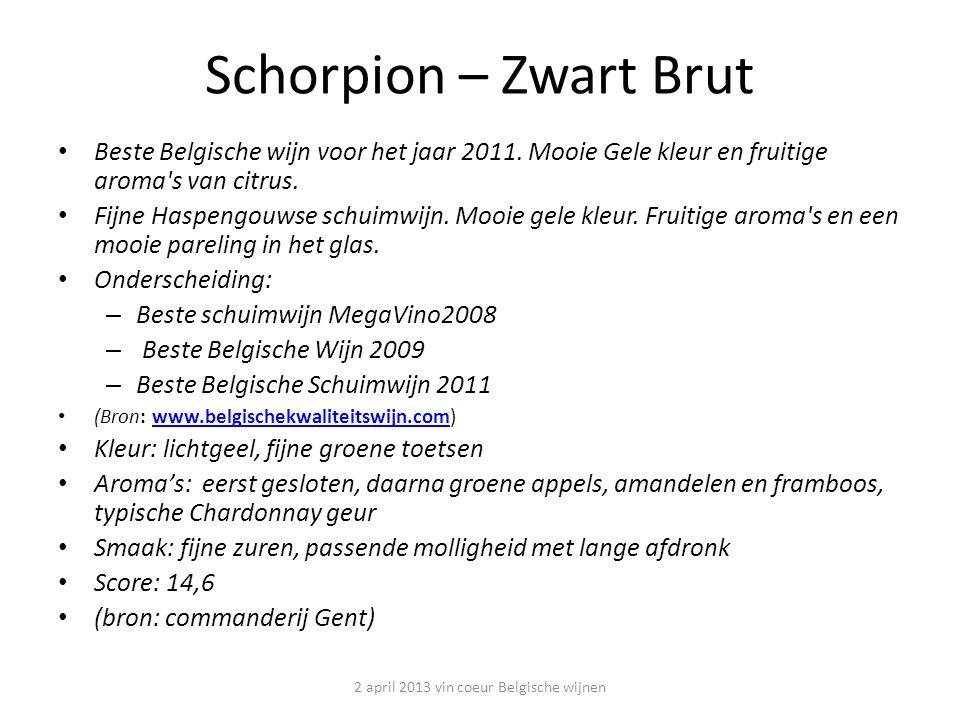 Schorpion – Zwart Brut Beste Belgische wijn voor het jaar 2011.